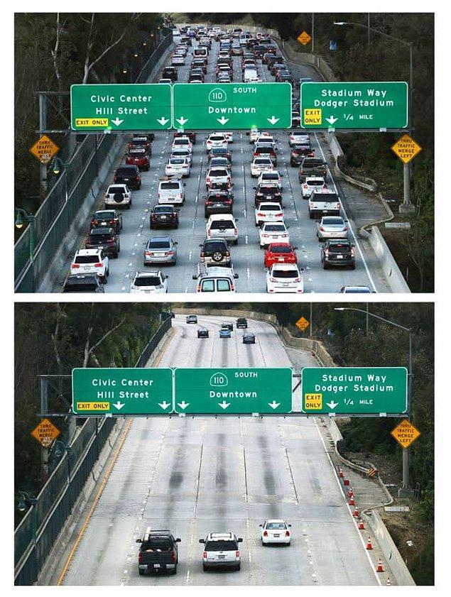 4. İlk fotoğraf 12 Mart 2020'de Los Angeles'ta trafiğin yoğun olduğu saatlerde çekilmiş. İkinci fotoğraf ise bir ay sonra, sokağa çıkma yasakları başladığı zaman çekilmiş.