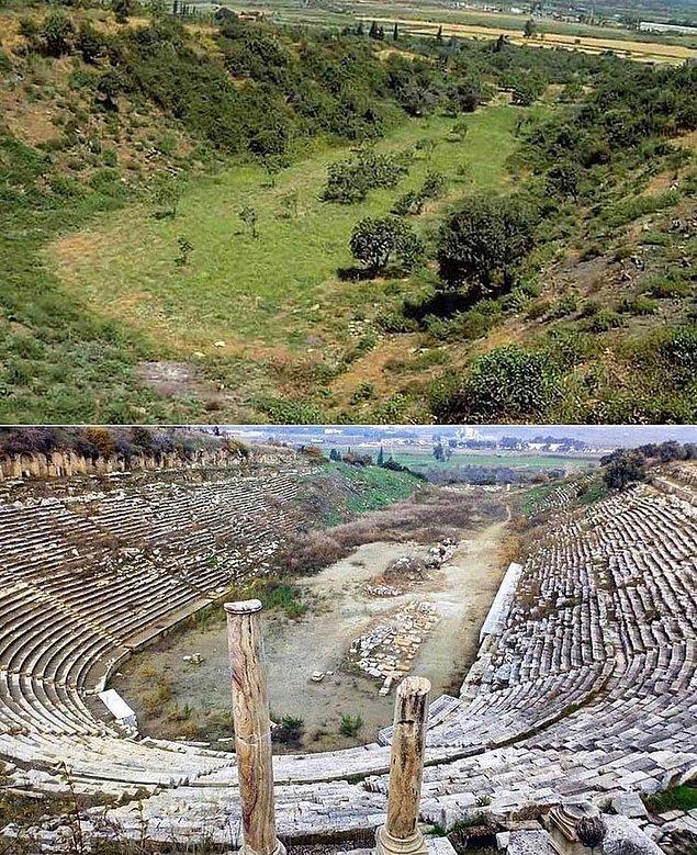 5. Bir Antik Yunan stadyumunun arkeologlar tarafından keşfedilmeden önce ve sonrası: