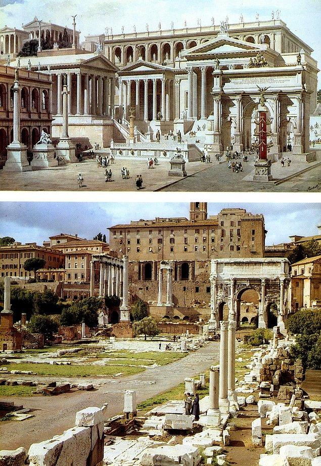 6. Bir Roma Forumunun bin yıl kadar önceki görünüşü ve günümüzdeki hali: