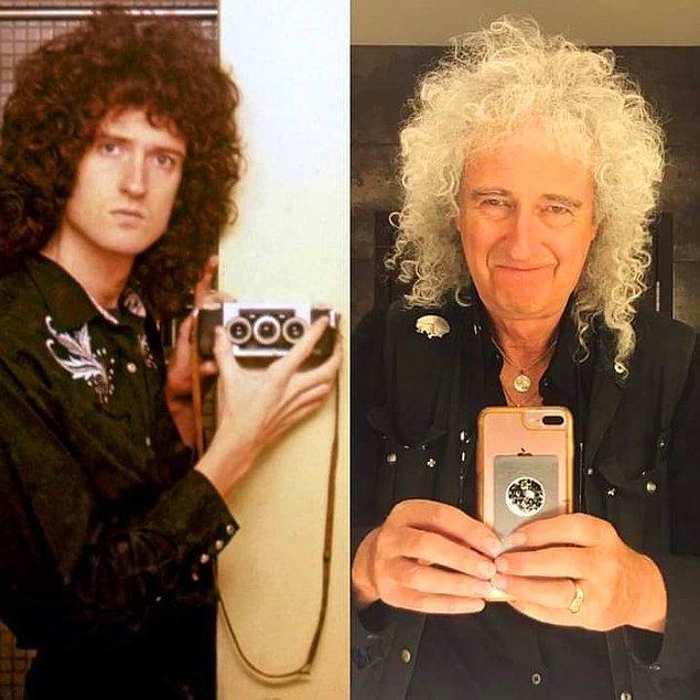 10. Brian May'in 70'lerde ve 40 yıl sonra aynada çektiği selfie: