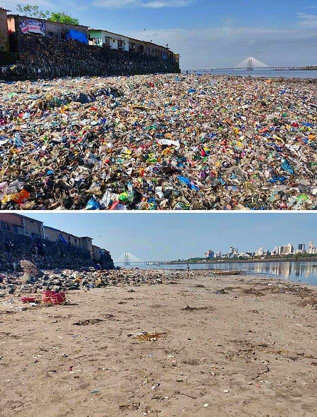12. Mumbai'de bulunan plajın bir temizlik kampanyasından öncesi ve sonrası:
