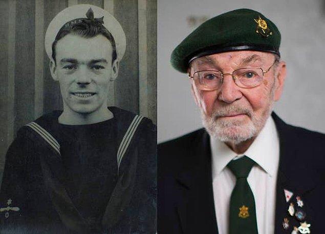 14. Bir deniz subayının İkinci Dünya Savaşı sırasında ve 70 yıl sonra, 92 yaşında çekildiği bir fotoğraf.