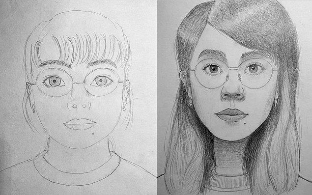 17. Bir ay boyunca gittiği resim kursundan önce ve sonra çizdiğini paylaşan bir kişi.