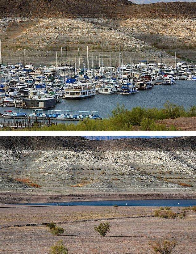 20. Mead Gölü'nün 2007'de ve yedi yıl süren kuraklıktan sonra çekilmiş bir fotoğrafı.