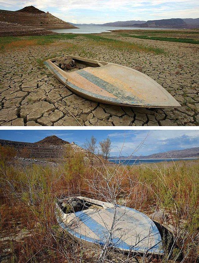 21. Bu fotoğraf da Mead Gölü'ne ait. Gölde bırakılan bir teknenin kuraklığın başında ve 2014'de çekilen fotoğrafı.