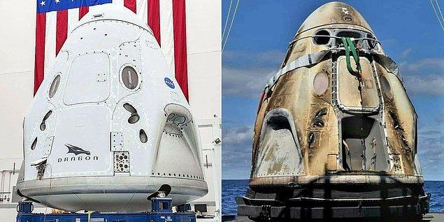 24. Crew Dragon Endeavour'un uzay istasyonuna gitmeden önce ve Dünya'ya döndükten sonra çekilen fotoğrafı: