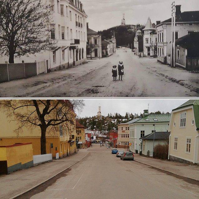 26. İsveç'in Söderhamn kasabasının 1920'de ve 2020'de çekilen fotoğrafı: