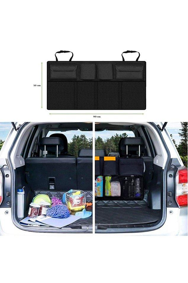 10. Dağınık bir bagaja valiz yerleştirmek hiç kolay olmasa gerek. Arabada sürekli bulunan eşyalarınızı bu organizer ile düzenli hale getirirseniz bagajda size bolca yer açılacaktır.