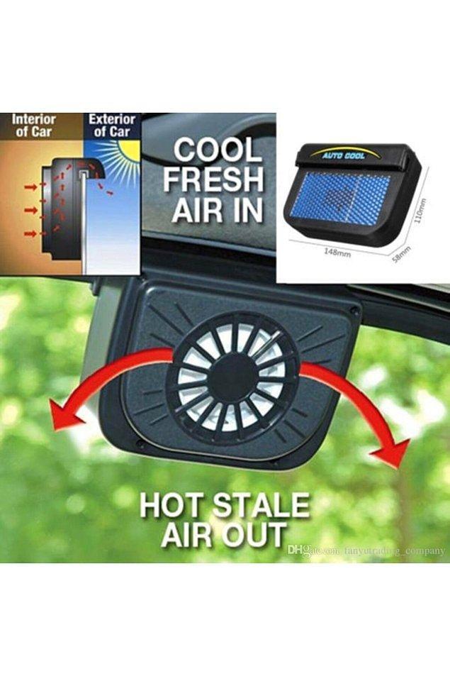 9. Güneş enerjisi ile çalışan bir soğutucu fan.