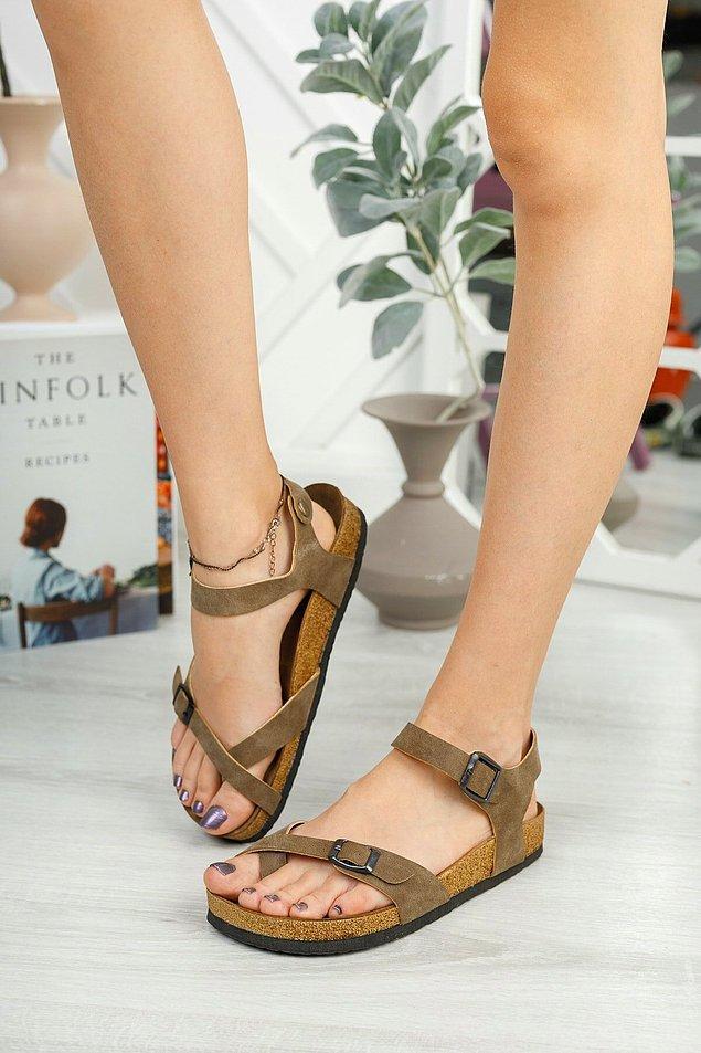 2. Çift tokalı taba rengi sandalet
