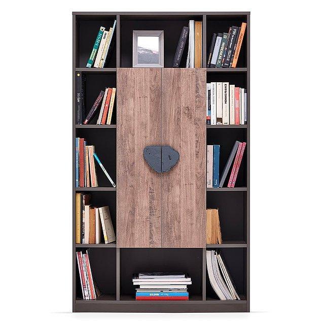 8. Dinamik çizgilere sahip modern tasarımlı Enza kitaplık...