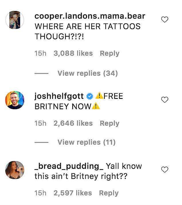 Bunun en büyük nedenlerinden biri de fotoğrafta ünlü sanatçının dövmelerinin gözükmüyor olmasıydı. Bu durum insanlara fotoğraftaki kişinin Britney olmadığını düşündürdü.