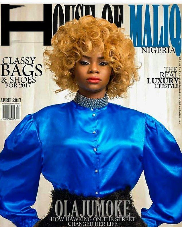 Çok geçmeden başarıya ulan kadın Nijerya'nın yerel dergilerinin kapaklarında boy göstermiş ve birkaç markayla reklam anlaşması imzalamış.