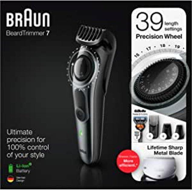 18. Bıçaklarının keskinliği sayesinde daha hızlı bir şekilde sonuca ulaşabileceğiniz bir saç sakal tıraş makinesi.