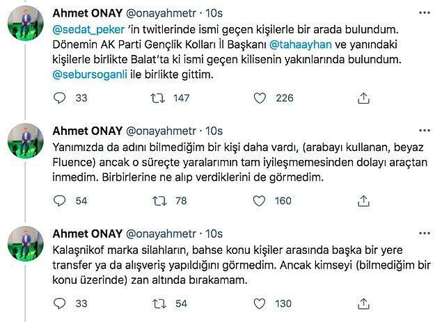 Peker'in yaptığı paylaşımın ardından Onay da Twitter hesabından iddialardaki araçları ve buluşmayı doğruladı fakat ne taşındığını görmediğini söyledi.