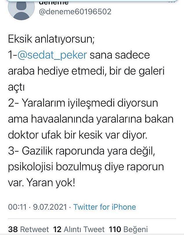 Profil fotoğrafı bulunmayan bir hesap da herkesi şaşırtan (bir o kadar da şaşırtmayan) iddialarda bulundu. Onay'ın aslında iyileşecek yaralarının olmadığını sadece ufak çiziklerle gazilik unvanı aldığını belirtti.