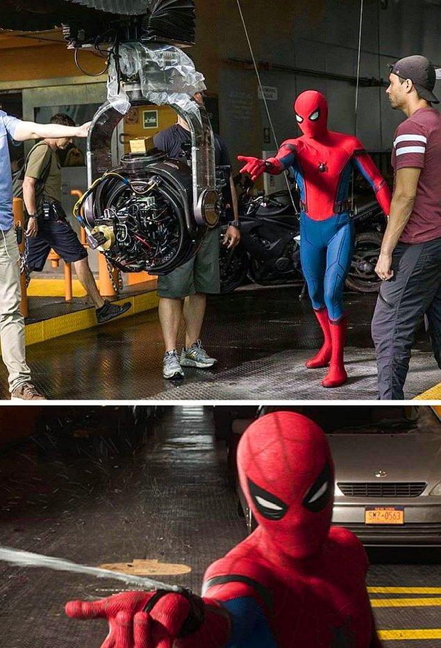 5. Spider-Man: Homecoming filminde Tom Holland'ın canlandırdığı Örümcek Adam'ın ağ atma sahneleri bu şekilde çekilmiş.
