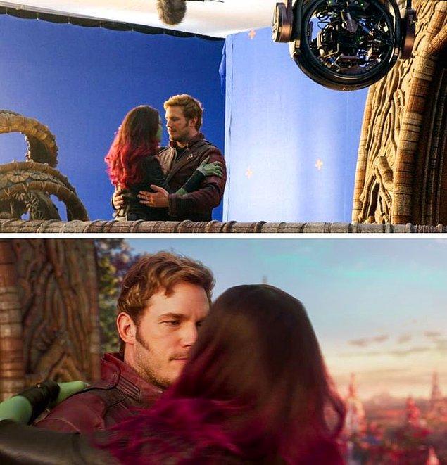 10. Galaksinin Koruyucuları 2 filminin en romantik anlarından biri bu şekilde çekilmiş.