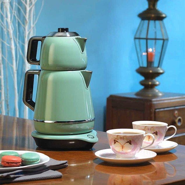 10. Korkmaz çaycı retro görünümü ile mutfaklarınızın yıldızı olmaya aday!