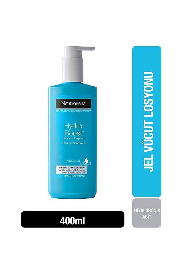 9. Neutrogena Hydro Boost jel formundaki vücut losyonu cildini rahatlatırken nemlendirmek isteyenler için.