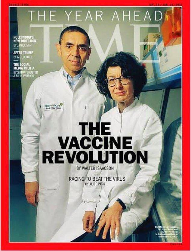 TIME Dergisi'nin kapağında hem Uğur Şahin hem de Özlem Türeci yer alıyordu.