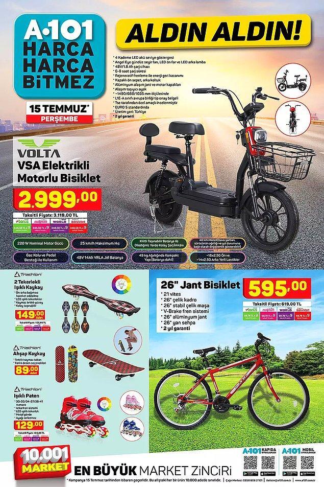 Volta VSA Elektrikli Motorlu Bisiklet 2999 TL.