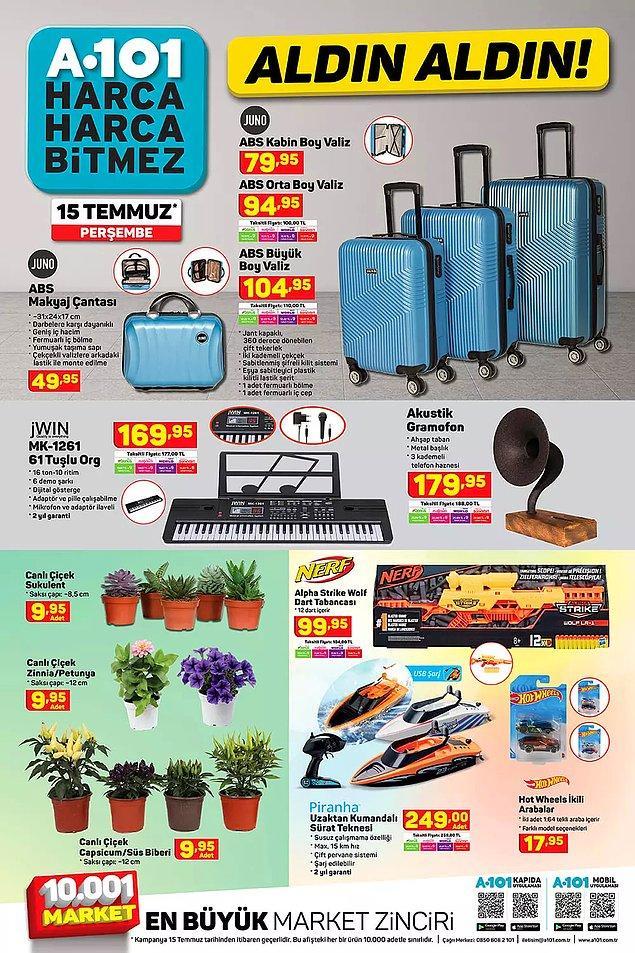 Tatil sezonu için farklı boyutlarda valizler satışta olacak.