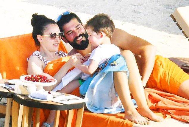5. Fahriye Evcen ve Burak Özçivit çifti oğulları Karan'la tatile çıktı.