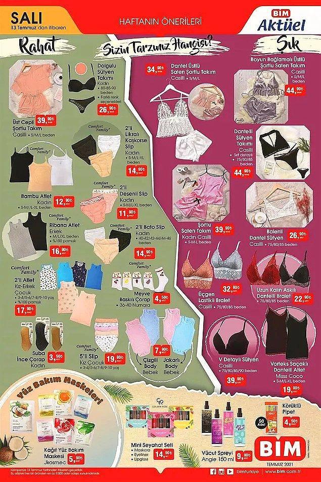 BİM'de 13 Temmuz Salı gününden itibaren iç giyim ürünleri satışta olacak.