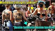 Polis Üstsüz Güneşlenen Kadını Uyarınca Tüm Kadınlar Çıplak, Erkeklerse Sütyenleriyle Caddeleri Doldurdu!