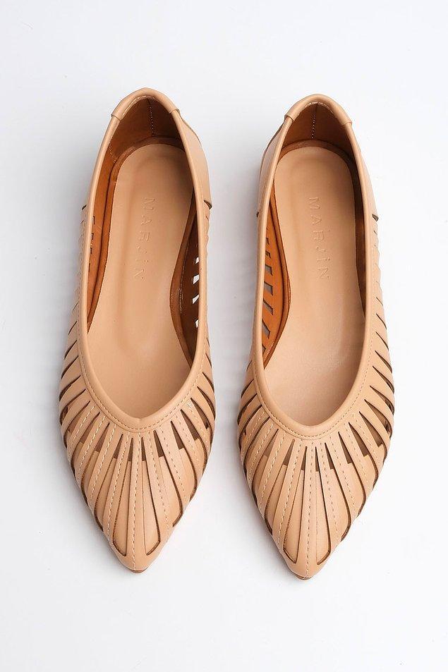 5. Bej rengi babet, düz topuklu ayakkabı arayanların tercihi...
