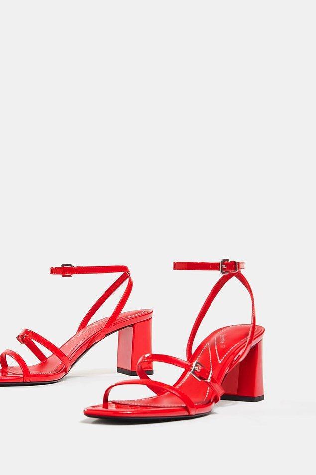 14. Suni rugan topuklu ayakkabı kırmızı sandalet arayanlar için gelsin...
