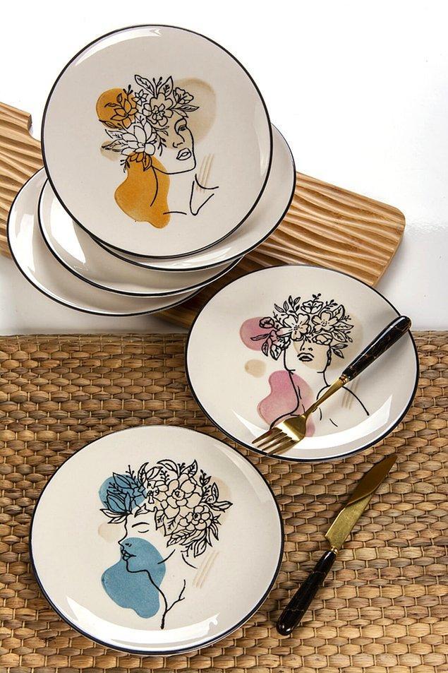 2. Çok zarif bir seramik tabak takımı... Renkleri canlı ve desenleri çok tatlı...