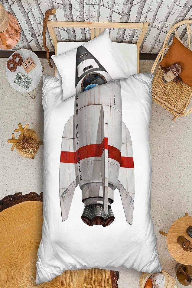 13. Roket dizaynı ile uzaya gitmeye hevesli gençler için harika bir organik nevresim takımı.