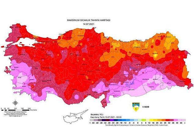 Yarının sıcaklık haritası