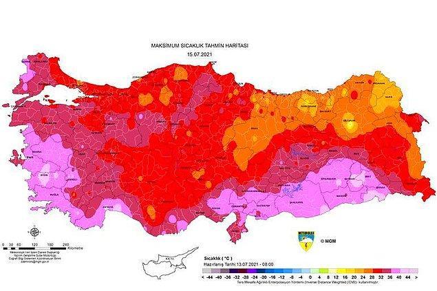 Perşembe günü sıcaklık haritası