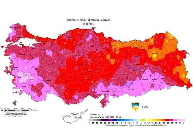 Cuma günü sıcaklık haritası
