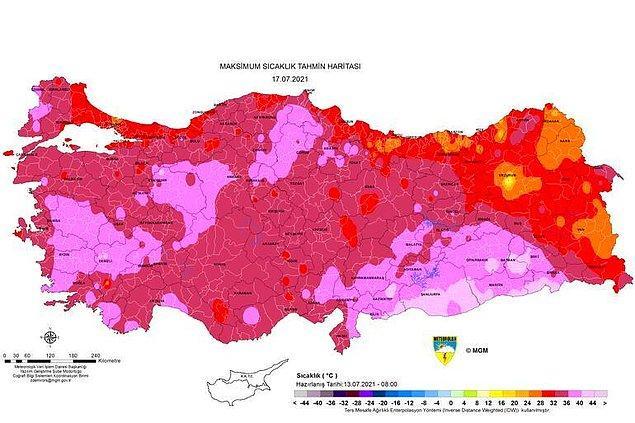 Cumartesi günü sıcaklık haritası