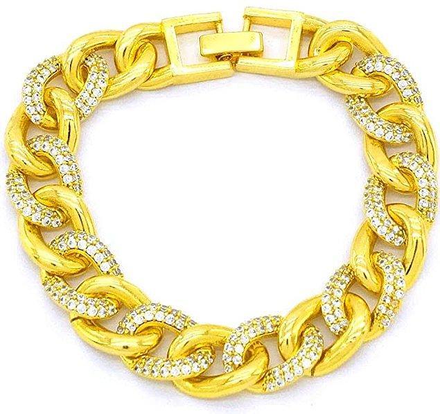 15. Altın kaplama çelik zirkon taşlı zincir bileklik, kararmaya ve beyazlamaya karşı garantili.