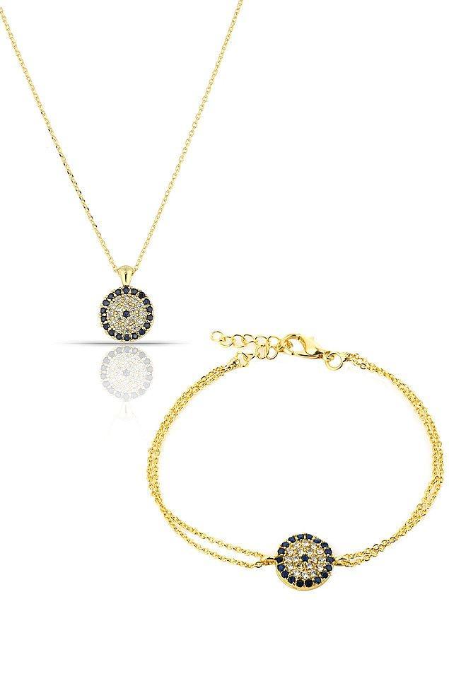 17. Altın kaplama nazar boncuklu kolye ve bileklik en klasik modellerden biri...