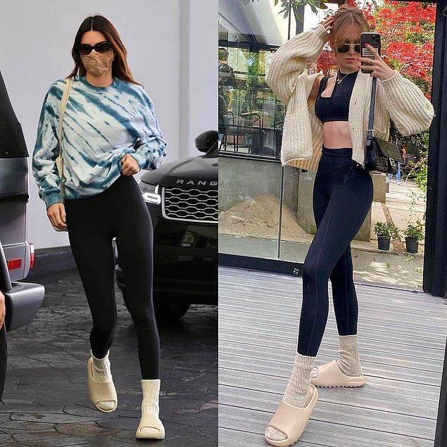 8. Duygu Özaslan ve Kendall Jenner tayt, çorap ve terlik piştisi olmuştu.