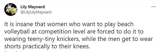 """""""Erkek oyuncuların dizlerine kadar inen şortlar giymesine izin verilmesine rağmen turnuvalarda oynamak isteyen kadınların ufak tefek külotlar giymeye zorlanması akıl alır gibi değil."""""""