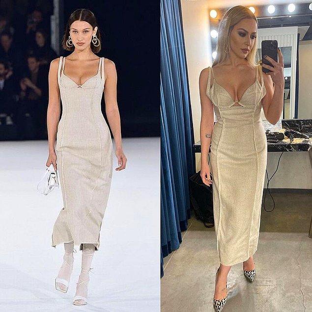 15. Son olarak, Hadise2nin yeni giydiği bu elbiseyi defilede Bella Hadid taşımıştı.