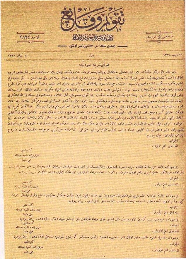 Bunun yanı sıra Dürrizâde Abdullah'ın 11 Nisan 1920'de Takvim-i Vekayi'de yayımlanan fetvası ile hem Mustafa Kemal hem de Kuva-yı Milliye'nin katli vacip ilan edilir.