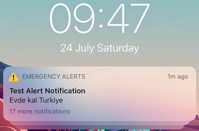 Acil durum uyarı bildirimi, 9.45'te telefonlara gönderildi ve şu şekilde görüldü.