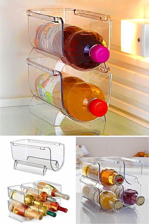 6. Buzdolabınızda düzenli bir görünüm yakalamak için, düzenleyici şişe raflarına göz atabilirsiniz.