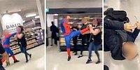 Önüne Gelene Saldıran Örümcek Adam Bir Kadını Tekme ve Yumrukla Bayılttı
