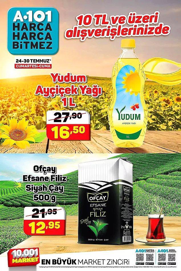 10 TL ve üzeri alışverişlerinizde Yudum Ayçiçek Yağı (1 Litre) ya da Ofçay Efsane Filiz Siyah Çay (500 gr) indirimli.