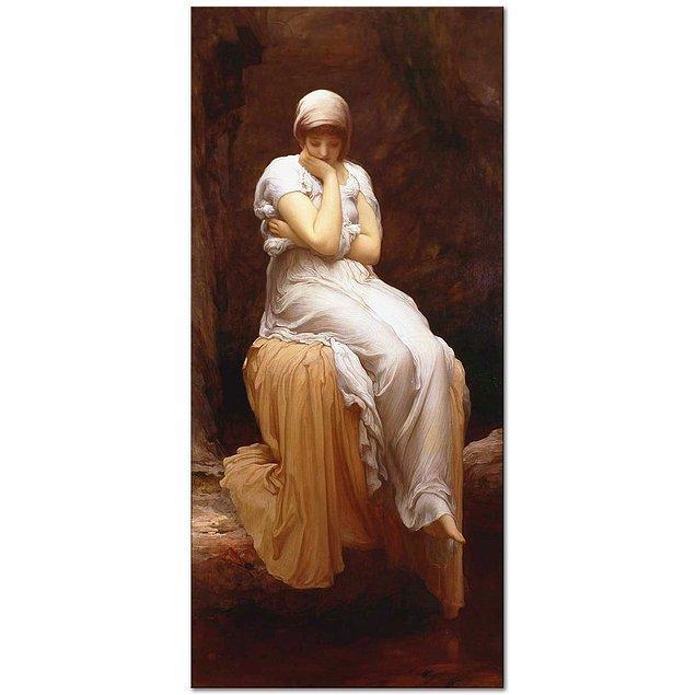 """Frederic Leighton'ın 1890 yılında yaptığı """"Tek başına"""" adlı eseri.  Sanatçının kendi ifadesine göre; """" … mutlak koyu kahverengi gece… ses yok, en ufak bir uğultu bile kulağınıza ulaşmıyor; tüm bunların sessiz gizemi sizi kesinlikle ele geçirir; çalışmamda aktarmaya çalıştığım şey buydu."""""""