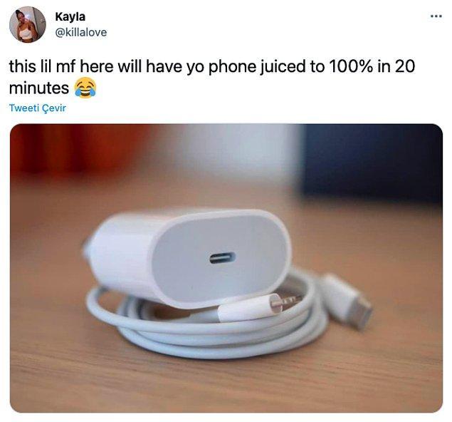 """9. """"Bu küçük canavar telefonunuzu 20 dakikada %100 şarj ediyor."""""""